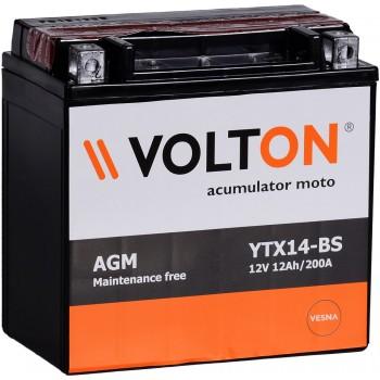 Baterie moto Volton MF 12V 12Ah (YTX14-BS)Baterie moto Volton MF 12V 12Ah (YTX14-BS)